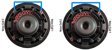 so now you have two dual 2 ohm subs wired in series  this increases the ohm  load to 4 ohm at each sub  now we need to wire